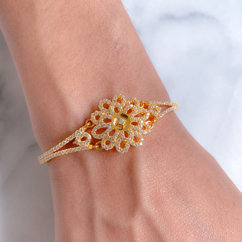 Large CZ Flower Bangle Bracelet