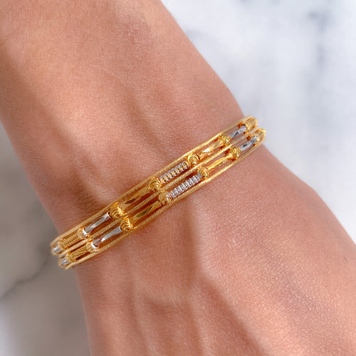 Contemporary Dual Row Bangle Bracelet