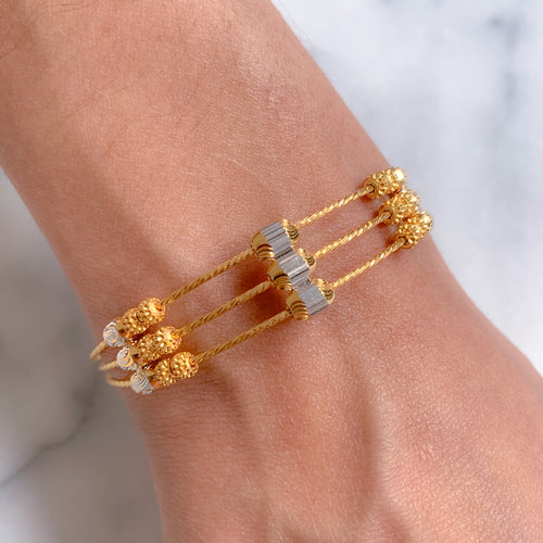 Triple Row Bangle Bracelet