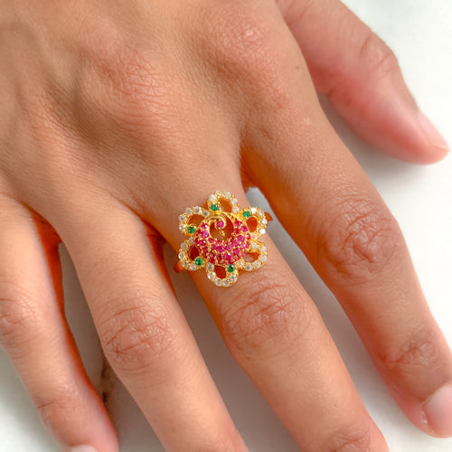 Peacock Flower Ring