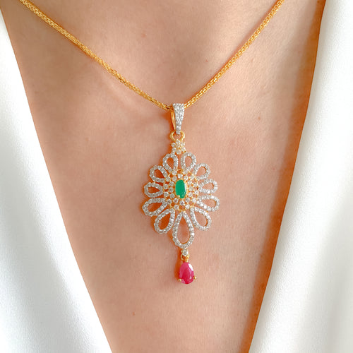Fancy emerald + Ruby Pendant Set