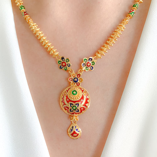 Regal Meena Necklace Set