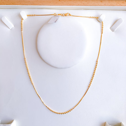 Fancy Bead Yellow Gold Chain