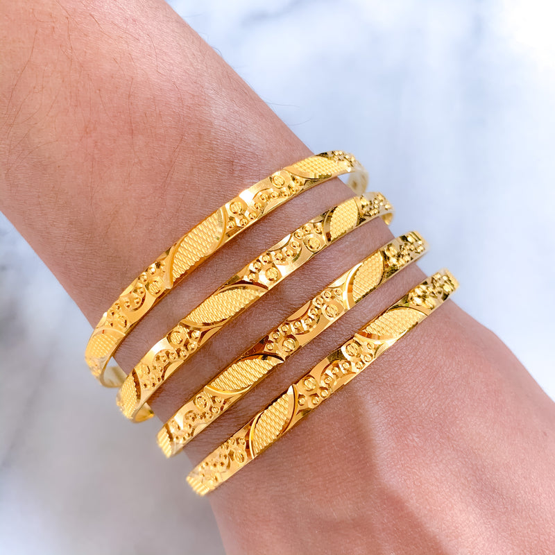 Leaf Engraved Machine Bangles