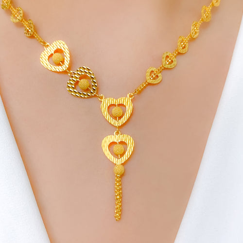 Glittering Hearts Necklace Set