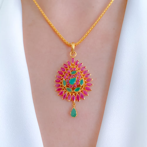 Intricate Ruby + Emerald Pendant Set