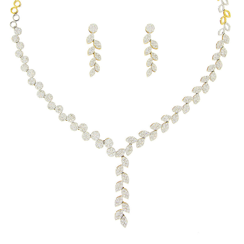 Leaf Design Diamond Necklace Set