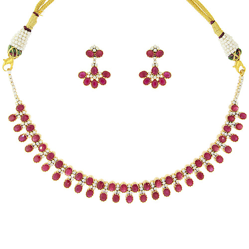Ruby and Diamond Necklace Set
