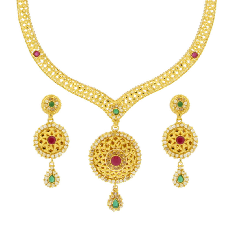 Ruby and Emeral Necklace Set