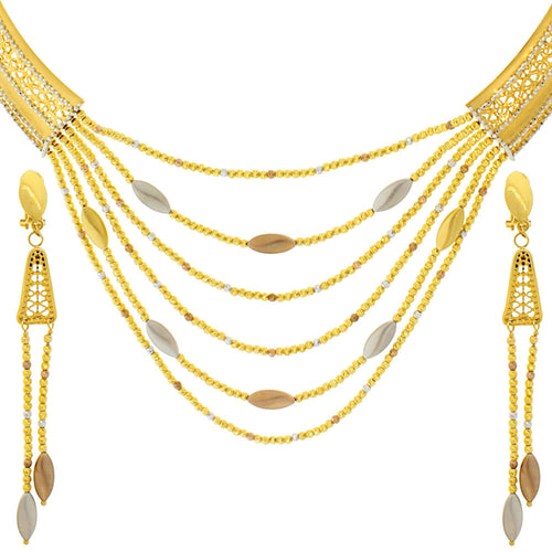 Three-tone Necklace Set