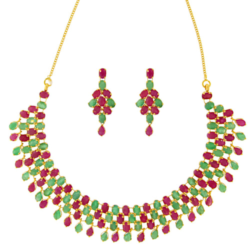 Ruby & Emerald Necklace Set