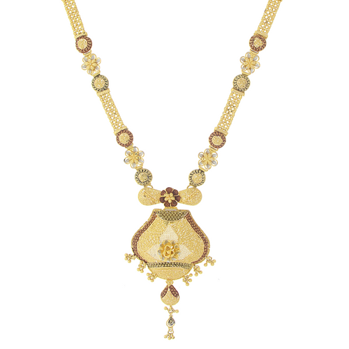 3-TONE LONG GOLD NECKLACE SET