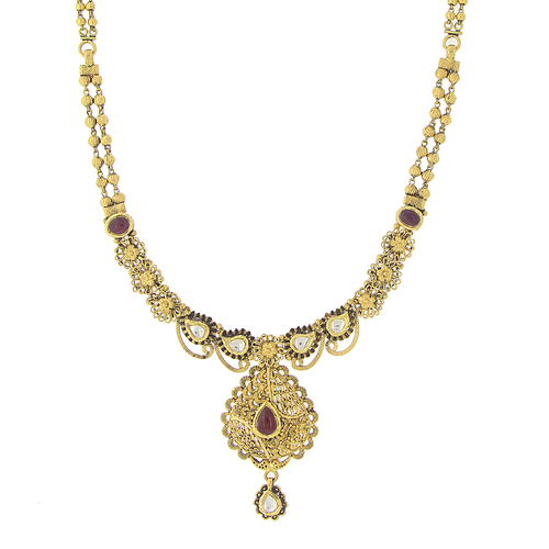 3 Piece Oxidized Kundan Necklace Set