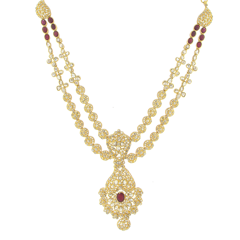 3 PIECE POLKI NECKLACE SET WITH RUBY
