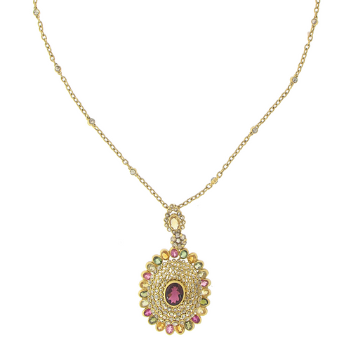 3 PIECE POLKI NECKLACE SET WITH PRECIOUS STONES