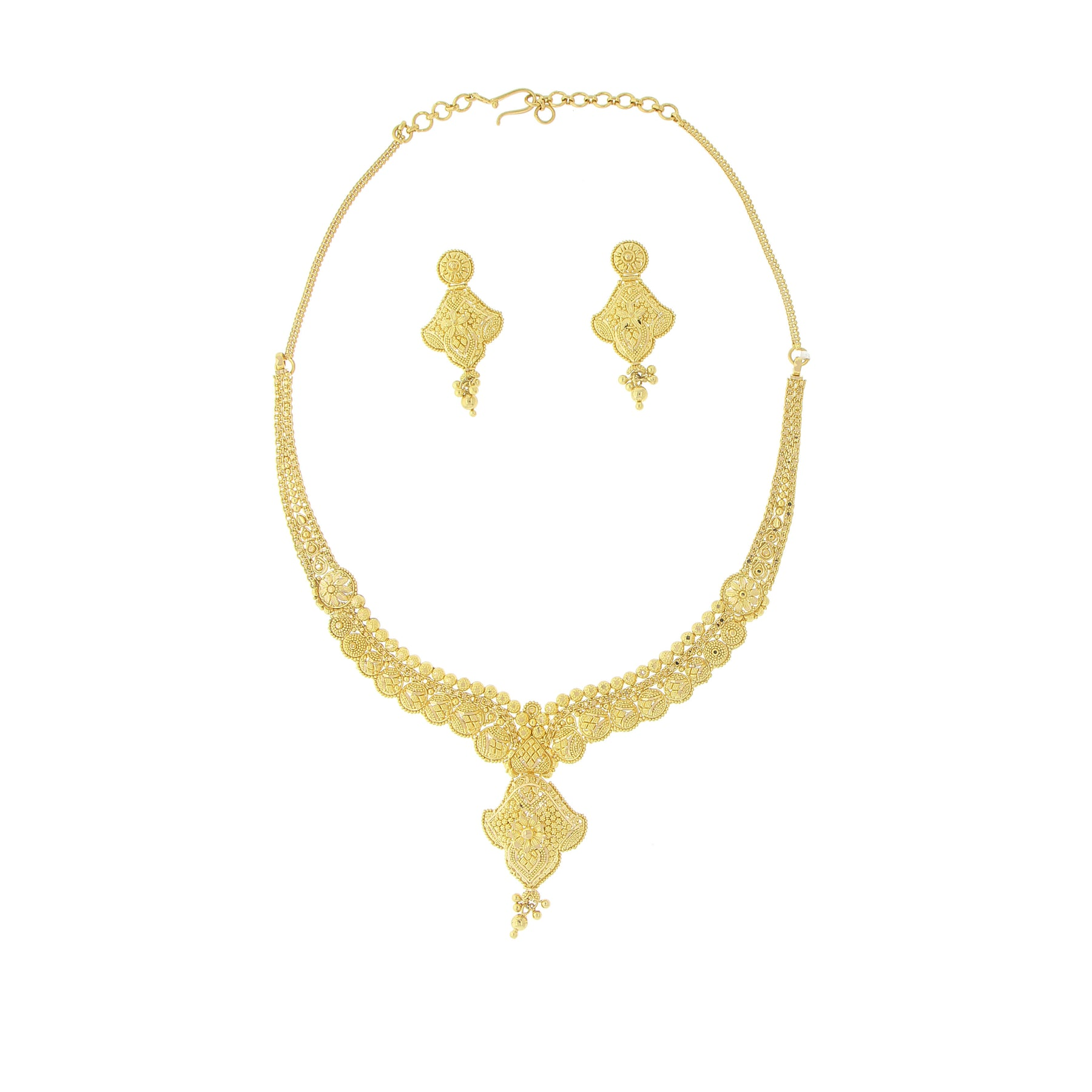 gold jewelers products andaaz plain piece necklace n set