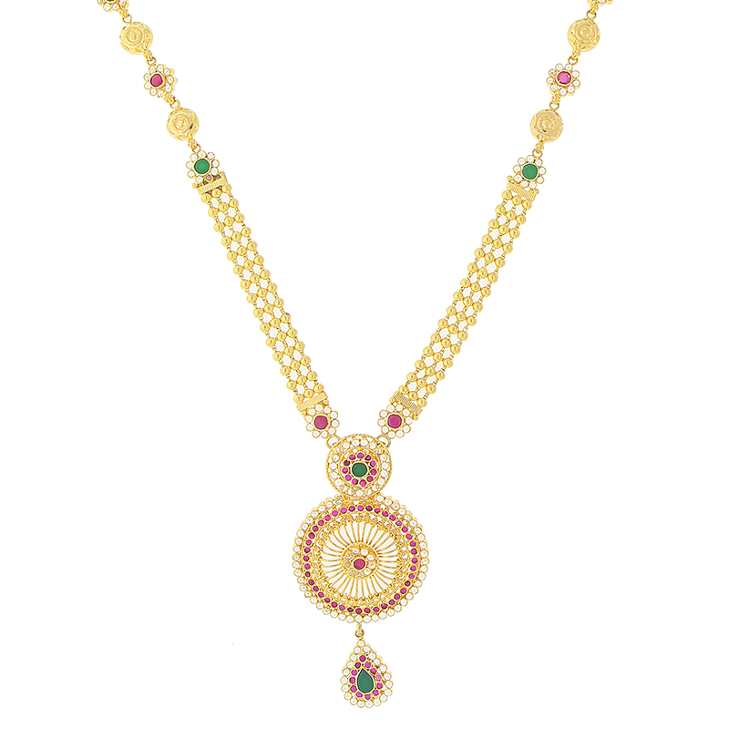 LONG GOLD NECKLACE SET WITH RUBY & EMERALD