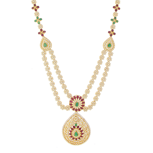 LONG NECKLACE SET WITH RUBY, EMERALD, AND CZ