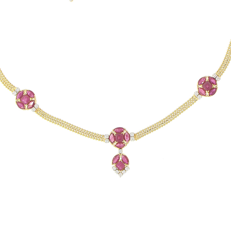 Diamond Necklace Set With Ruby Stones