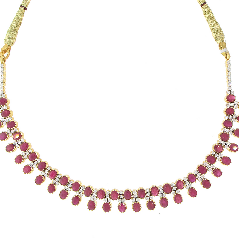 3 PIECE NECKLACE SET WITH RUBY STONE