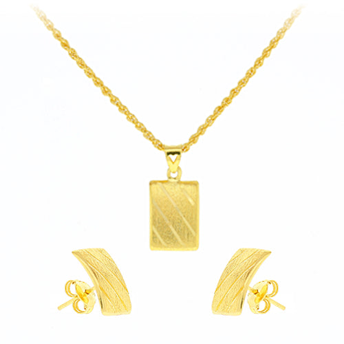 Gold Striped Pendant Set