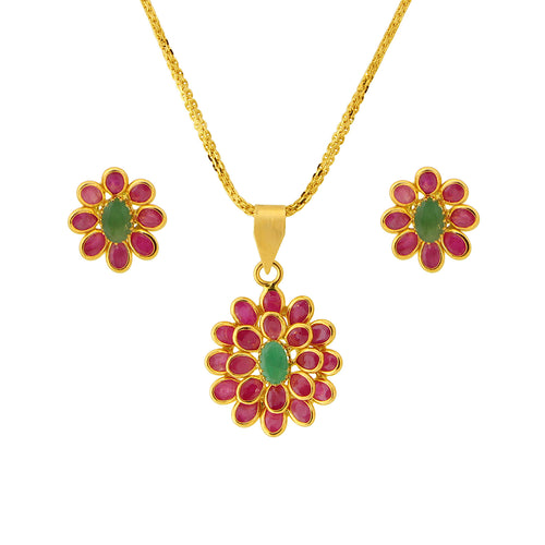 Ruby + Emerald Pendant Set