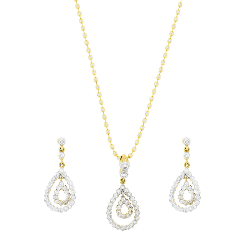 Double Drop Diamond Pendant Set