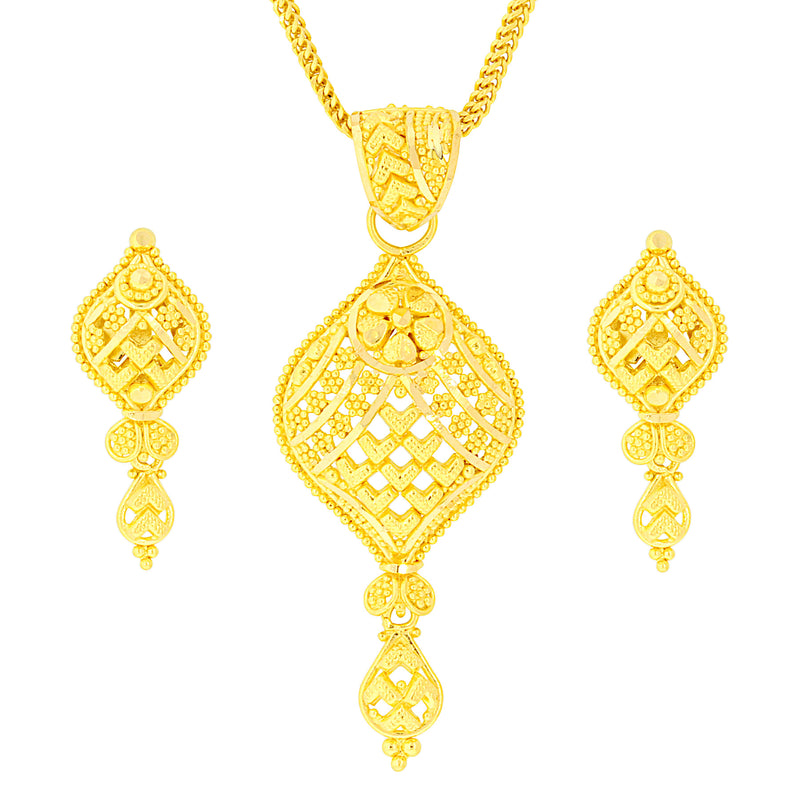 Hanging Traditional Gold Pendant Set