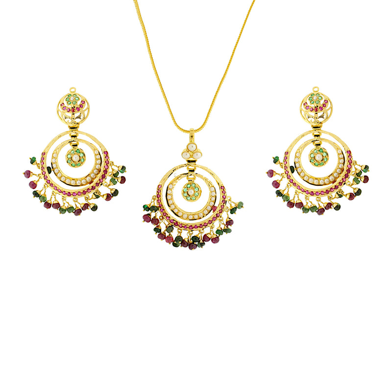 Emerald & Ruby Pendant Set
