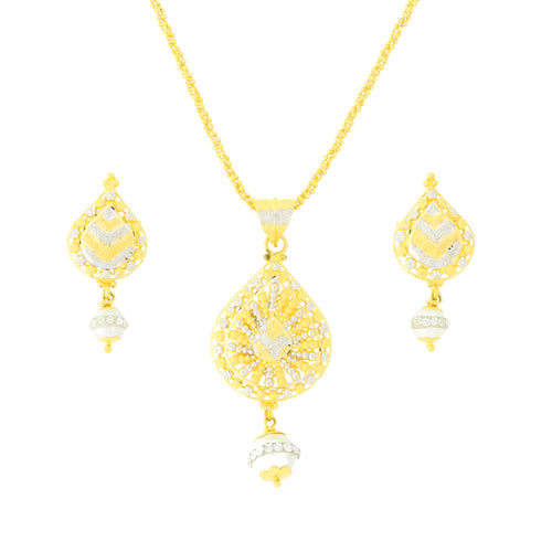 Attractive Two-Tone Gold Pendant Set