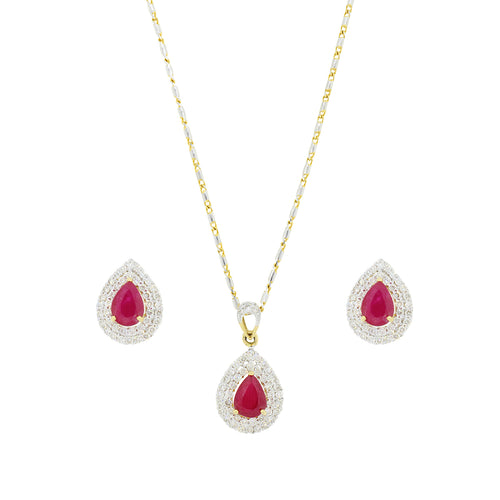 Ruby + Diamond Pendant Set
