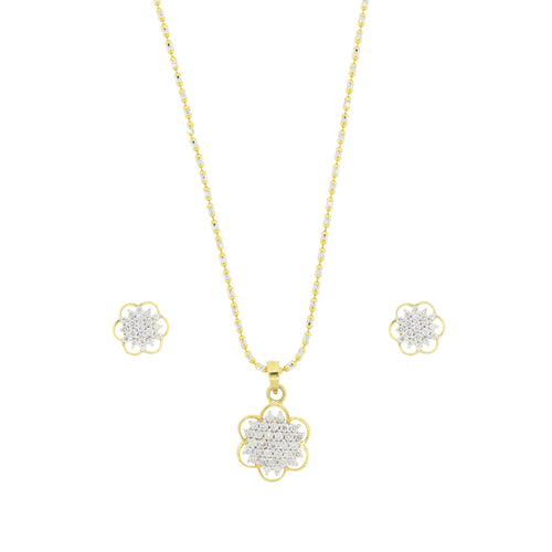 Delicate Flower Diamond Pendant Set