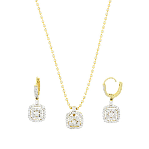 Hanging Square Diamond Pendant Set