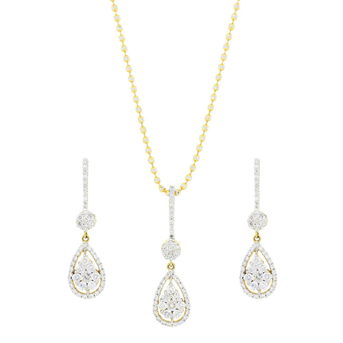 Lovely Diamond Drop Pendant Set