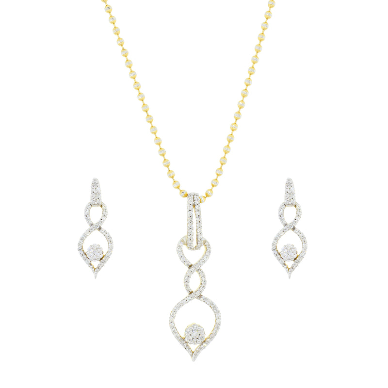 Modern Arrow Diamond Pendant Set