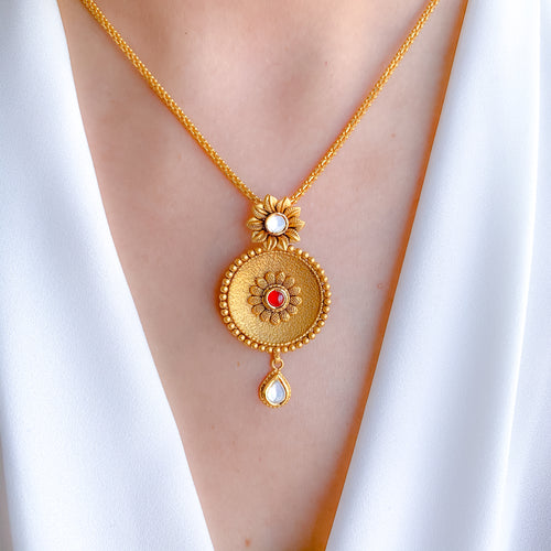Antique Concave Plate Kundan Pendant Set