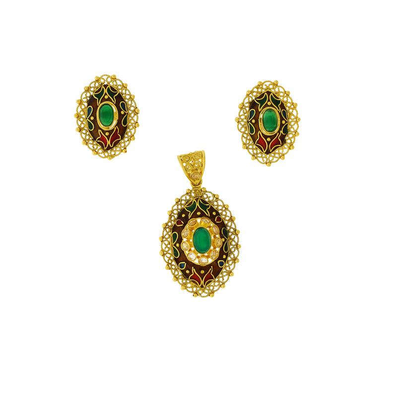 Emerald And Meena Pendant Set