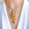 Peacock with Kundan and Garnet Pendant Set