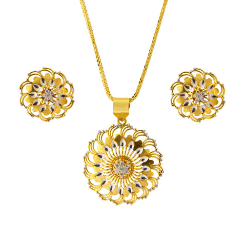 Two Tone Pendant Set With CZ Stones