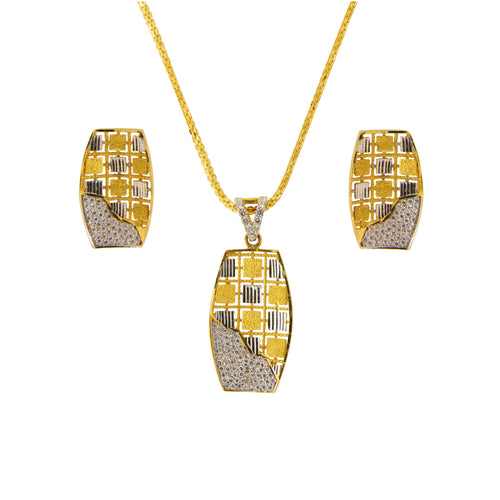 Two-tone Pendant Set with CZ Stones