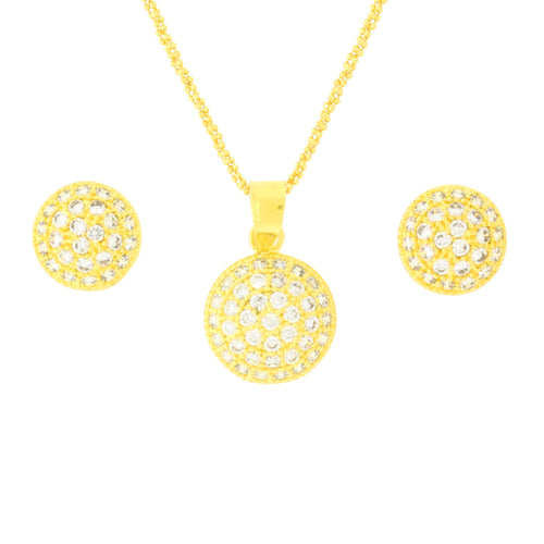 Small Round CZ Pendant Set