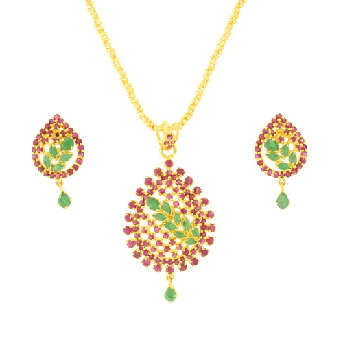 Traditional Ruby + Emerald Pendant Set