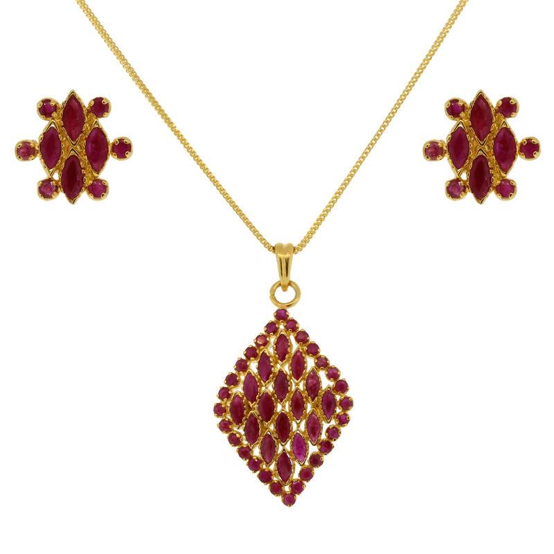 Diamond Shaped Ruby Pendant Set