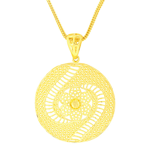 Large Floral Gold Pendant