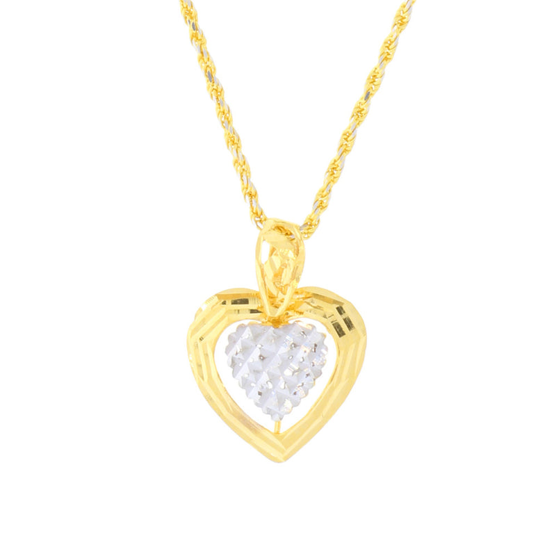 Two-tone plate style heart pendant