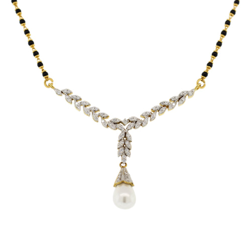 DIAMOND MANGAL SUTRA WITH PEARL DROP