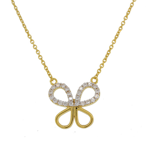 Butterfly Shaped CZ Pendant With Chain