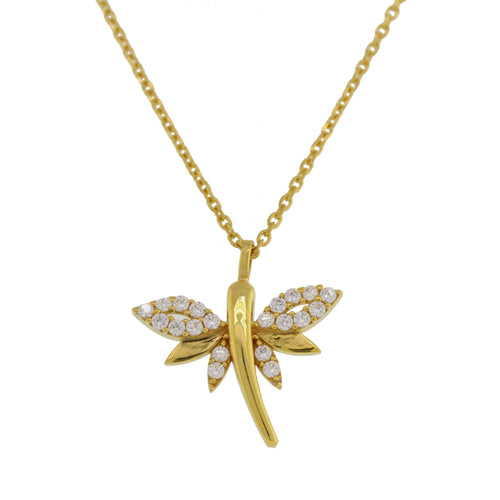 Dragonfly Shaped CZ Pendant with Chain