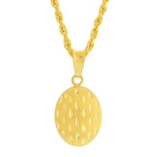 Reversible Two-Tone Oval Pendant