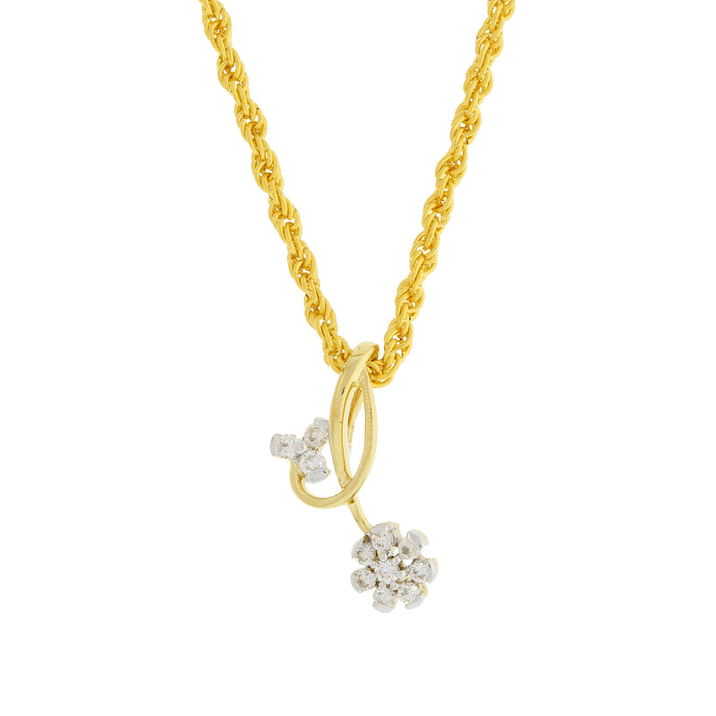 Double Flower Diamond Pendant